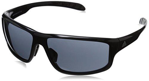 adidas Kumacross 2.0 A424 6050 Rectangular Sunglasses, Black Shiny & Black, 64 mm