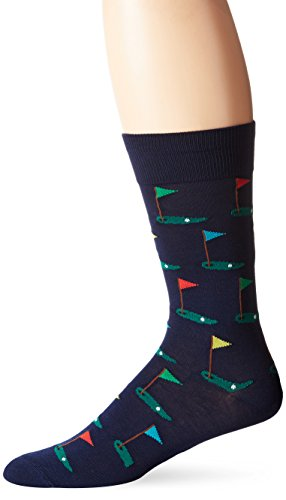 Hot Sox Men's Novelty Sporting Crew Socks, Golf (Navy), Shoe Size: 6-12
