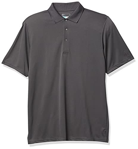 PGA TOUR Men's Airflux Short Sleeve Solid Golf Polo-Shirts, Asphalt, S
