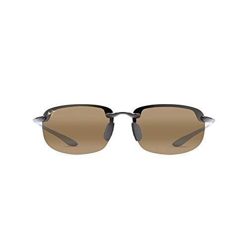 Maui Jim Ho'okipa w/ Patented PolarizedPlus2 Lenses Polarized Sport Sunglasses, Gloss Black/Hcl Bronze Polarized, Medium