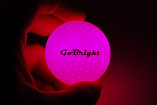 GoBright Pink LED Light Up Golf Balls - Ultra Bright Glow in The Dark Night Golf Balls (Pack of 6)