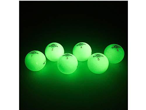 SUNDOWN GOLF Glow in The Dark Golf Balls - 6 Pack with 2 UV Flashlights, Plays Like A Standard Ball