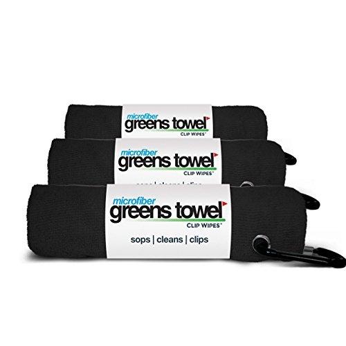 Greens Towel 3 Pack Black | Convenient Microfiber Golf Towels with Clip (Jet Black)
