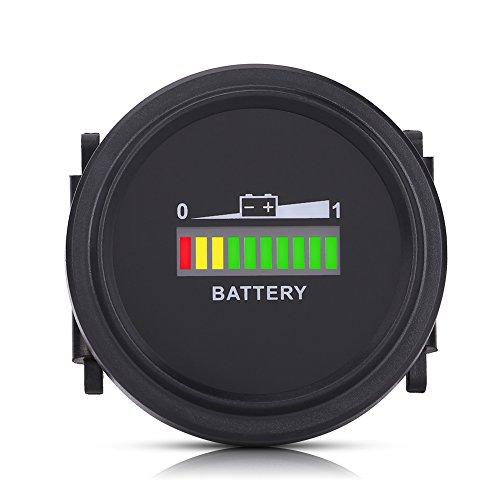 Qiilu LED Battery Indicator Meter, 12V 24V 36V 48V 72V LED Digital Battery Indicator Meter Gauge Charge Status Monitor Compact Tester for Golf Carts Forklift Car Scooter Motorcycle