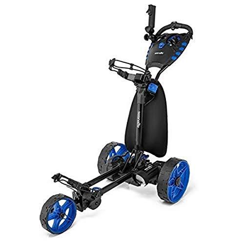 SereneLife 3-Wheel Electric Golf Push Cart - Rechargeable Lightweight Folding Walking Push Cart Roller Golf Bag Holder w/Foot Brake, Upper/Lower Bracket w/Elastic Strap, Umbrella Holder SLGZELEC