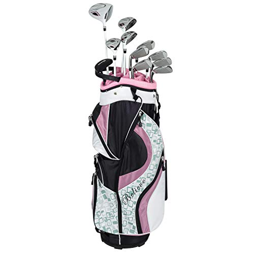 Founders Club Women's Ladies Complete Golf Set (16 Piece) Standard or Petite Length Right Handed (Rose, Standard)