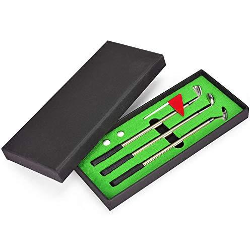 Juboury Golf Pen Set, Mini Desktop Golf Ball Pen Gift Set with Putting Green,Flag,3 Golf Clubs Pens & 2 Balls
