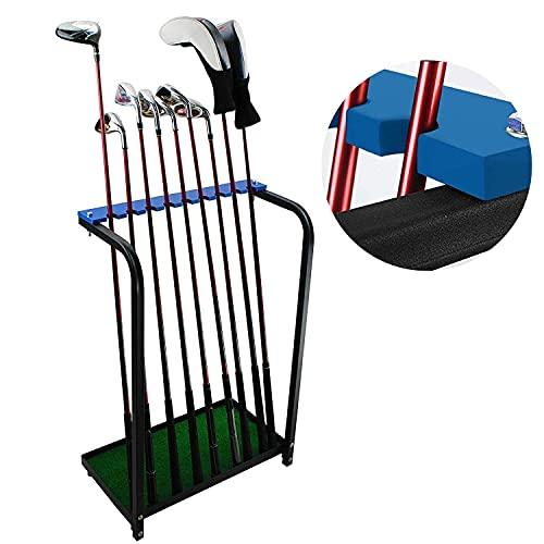 KOFULL Golf Club Organizer for Garage Golf Club Display Stand Rack Putter Holder Durable Metal Storage 9 Clubs Golf Clubs Shelf Organizers Equipment