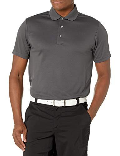 PGA TOUR Men's Airflux Short Sleeve Solid Polo-Shirts, Asphalt, S