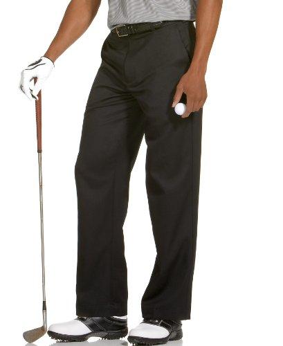 IZOD Men's Golf Microsanded Flat Front Classic Fit Pant, Stonedust, 36W x 30L