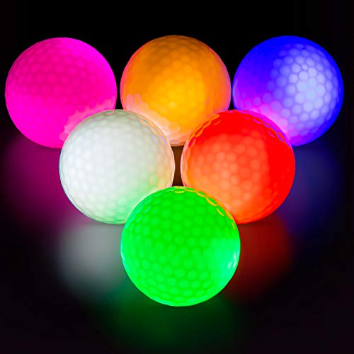 THIODOON Glow in the Dark Golf Balls Light up Led Golf balls Night Golf Gifts for Men Kids Women 6 Pack (6 Colors in one)