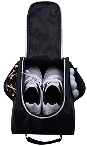 Athletico Golf Shoe Bag - Zippered Shoe Carrier Bags with Ventilation & Outside Pocket for Socks, Tees, etc. Perfect Storage (Black)