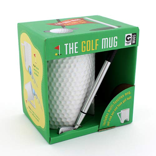 Ginger Fox Novelty Golf Mug - Pitch & Putt Mug with Golf Club Pen & Foam Golf Balls - Microwave & Dishwasher Safe