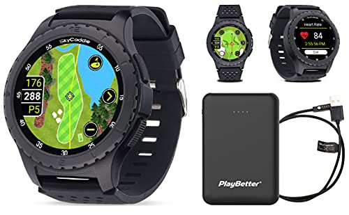 SkyCaddie LX5 GPS Golf Watch Power Bundle | with PlayBetter Portable Charger (Large) | 35,000 Maps, IntelliGreen & Pinpoint Technology | Golf Smartwatch