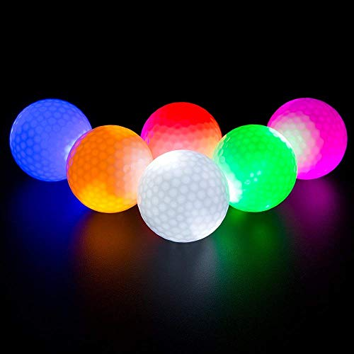 ILYSPORT LED Light up Golf Balls, Glow in The Dark Night Glow Golf Balls (Mixed 6 Colors)
