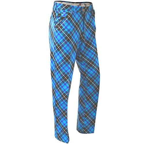 Royal & Awesome Men's Golf Pants, Blue Plaid Trews, 30W x 30L
