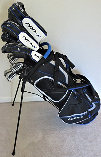 Mens Complete Golf Set Custom Made Clubs for Tall Men 6'0'- 6'6' Tall Forged Ti Driver, 3 Wood, 3, 4, 5 Hybrids, Irons, Sand Wedge Putter, Stand Bag Regular Flex Pro Quality