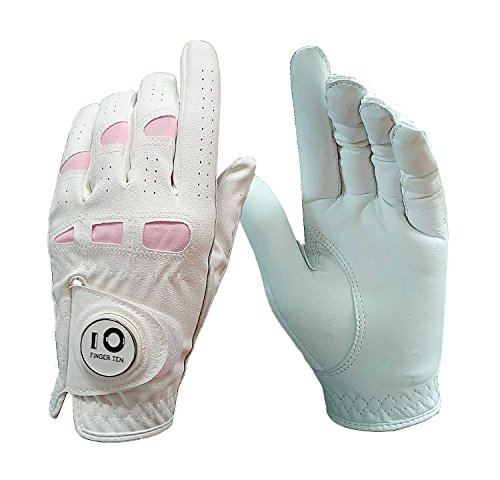 FINGER TEN Women's Ladies Golf Gloves Left Hand Right with Ball Marker Leather Grip 1 Pack, Pink Fit Woman Girl, Size Small Medium Large XL (Large, 1 Pcs Worn on Left Hand)