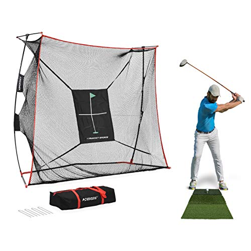 Rukket 9x7x3ft Haack Golf Net Pro | Practice Driving Indoor and Outdoor | Professional Golfing at Home Swing Training Aids | by SEC Coach Chris Haack (Haack Golf Net Pro + Tri Turf Mat)